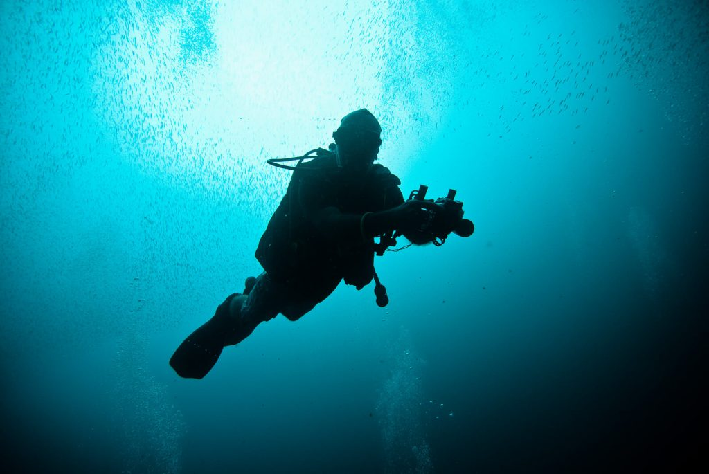 Underwater photographer. Nusa Penida, Pure Dive Resort.